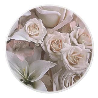 Shabby Chic Rose Floral Rustic Farmhouse Elegant Ceramic Knob