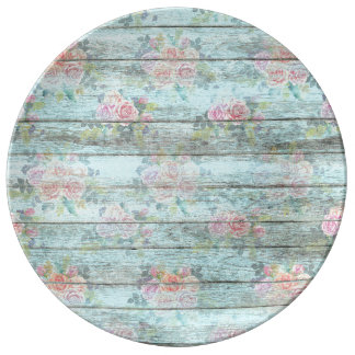 Shabby Chic Rose Flower Wood Blue Vintage Plate