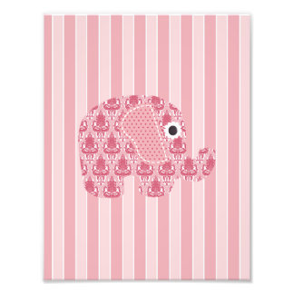 Shabby Chic Rose Pink Damask Elephant,Pink Stripes Photographic Print