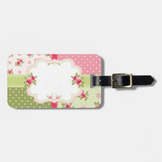 shabby chic roses luggage tag