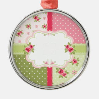 shabby chic roses metal ornament