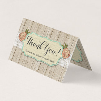 Shabby Chic Roses on Rustic Wood & Lace Thank You Card