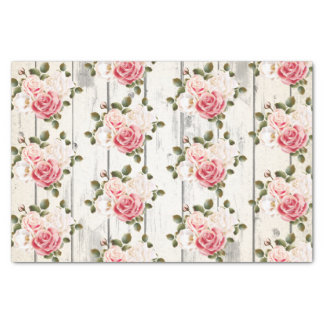 Shabby Chic Roses & Rustic Cottage Barn Wood Tissue Paper