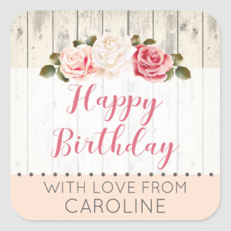 Shabby Chic Roses Rustic Wood Birthday Gift Tag