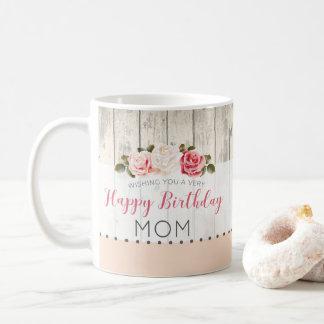 Shabby Chic Roses Rustic Wood Custom Birthday Coffee Mug