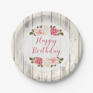 Shabby Chic Roses Rustic Wood Happy Birthday Paper Plate