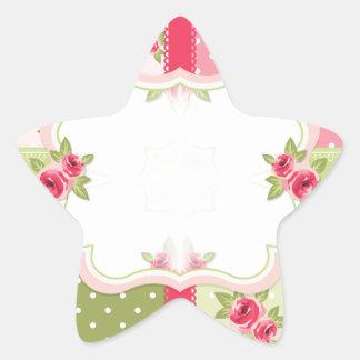 shabby chic roses star sticker
