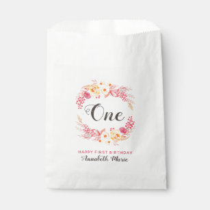 Shabby Chic Rustic Floral One First Birthday Party Favour Bag