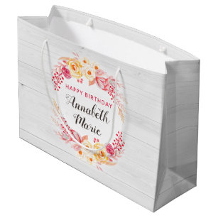 Shabby Chic Rustic Floral Roses Happy Birthday Large Gift Bag