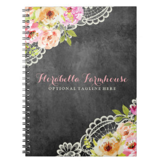 Shabby Chic Rustic Roses Painted on Chalkboard Notebooks