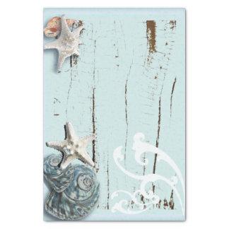 shabby chic  rustic teal blue beach seashells tissue paper