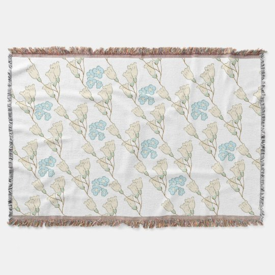 Shabby Chic Scattered Summer Flowers Throw Blanket