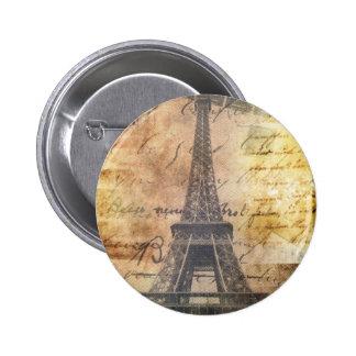 shabby Chic Scripts Vintage Paris Eiffel Tower 2 Inch Round Button