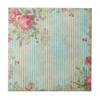 Shabby Chic Stripes & Roses Ceramic Tiles