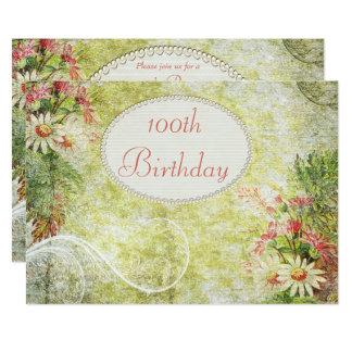 Shabby Chic Sweet 100th Birthday & Wildflowers Card