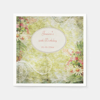Shabby Chic Sweet 90th Birthday & Wildflowers Paper Napkin