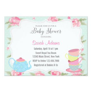 Shabby Chic Tea Party Baby Shower Invitation
