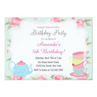 Shabby Chic Tea Party Birthday Invitation