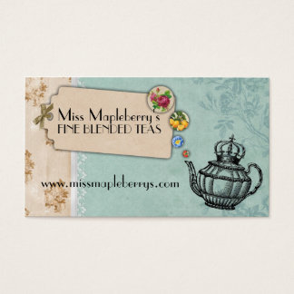 shabby chic tea vintage bubbling teapot crown business card