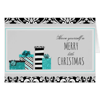 Shabby Chic Teal Black & White Holiday Card