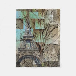 shabby chic trees vintage paris eiffel tower fleece blanket