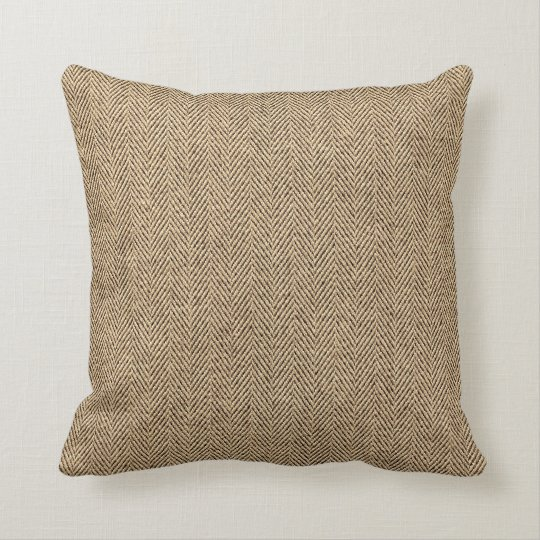 Shabby Chic Tweed Rustic Burlap Fabric Texture Throw Pillow