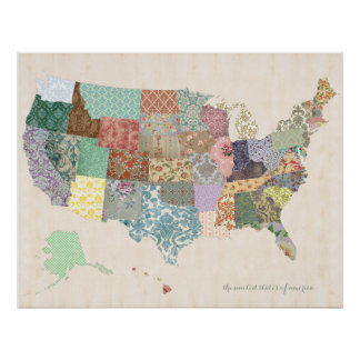 Shabby Chic United States Map - Nursery Art Posters