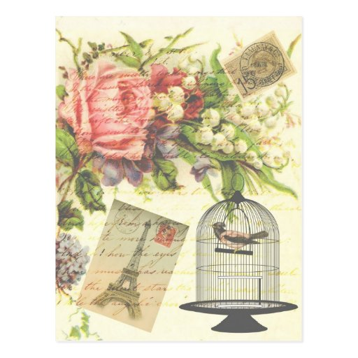 Shabby Chic vintage art Paris accessories and gift Post Cards