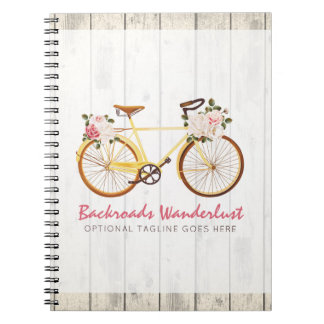 Shabby Chic Vintage Bicycle on Rustic Wood Custom Notebook