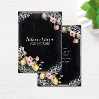 Shabby Chic vintage botanical floral chalkboard Business Card