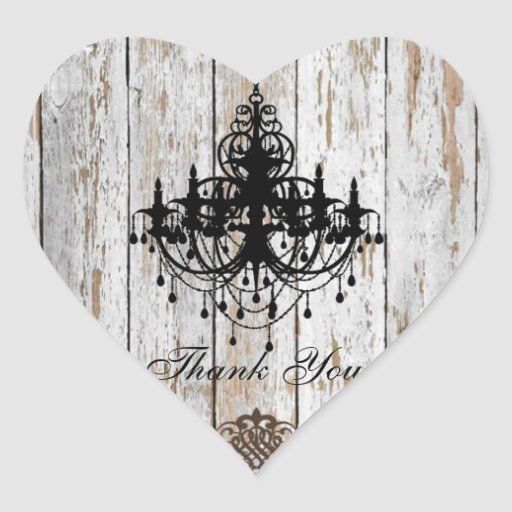 shabby chic vintage country wedding favor heart stickers