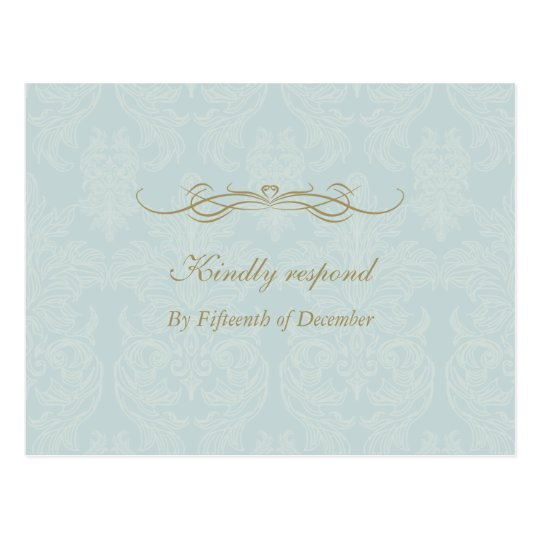 Shabby Chic Vintage Damask Pattern Wedding RSVP Postcard