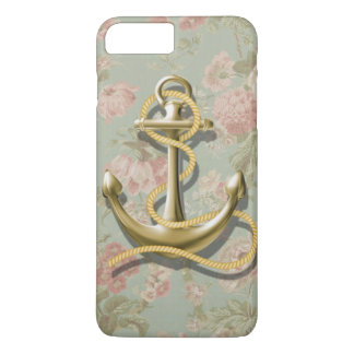 shabby chic vintage floral anchor girly nautical iPhone 7 plus case