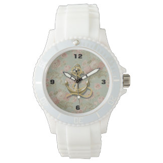 shabby chic vintage floral anchor girly nautical watch