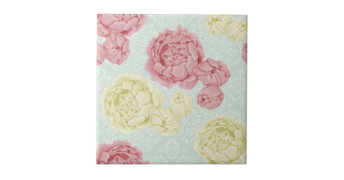shabby chic vintage floral ceramic tile zazzle. Black Bedroom Furniture Sets. Home Design Ideas