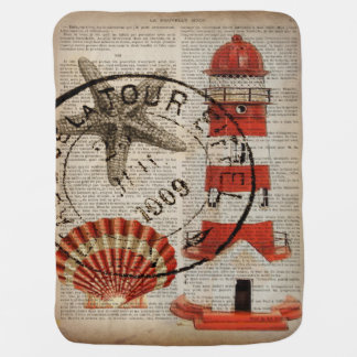 shabby chic vintage lighthouse sea shells stroller blankets