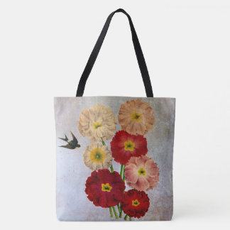Shabby Chic Vintage Pink Red White Flowers on Blue Tote Bag