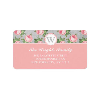 Shabby & Chic Vintage Rose Floral Personalized Label
