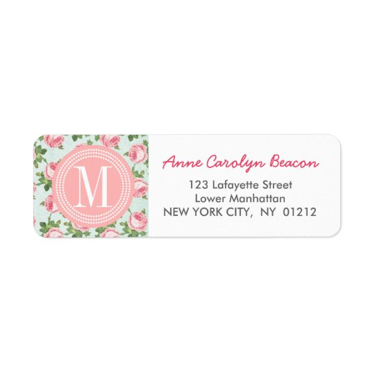 Shabby & Chic Vintage Rose Floral Personalized Return Address Label