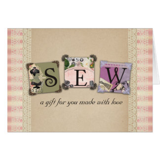 Shabby chic vintage sewing crafts gift cards