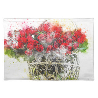 Shabby Chic Watercolour Red Roses In Basket Placemat