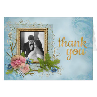 Shabby Chic Wedding Photo Thank You Card