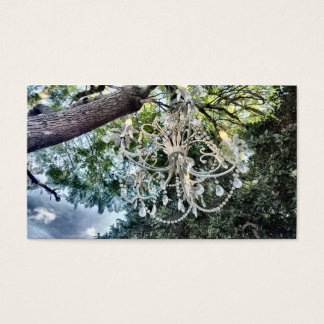 Shabby Chic White Crystal Chandelier Business Card