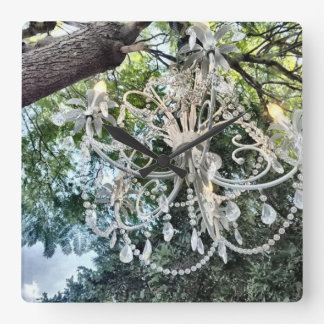 Shabby Chic White Crystal Chandelier Square Wall Clock