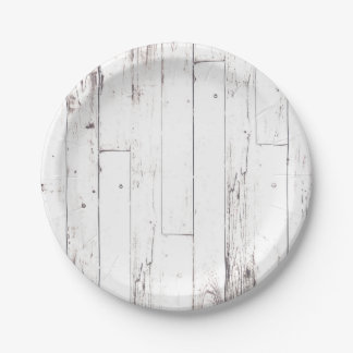 Shabby Chic White Wood Rustic Farmhouse Party Paper Plate
