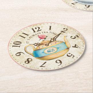 Shabby Clock Teapot Teatime Tea Party Coasters