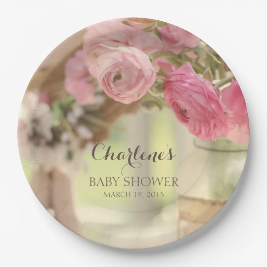 Shabby Country Chic Soft Faded Pink Flowers Paper Plate