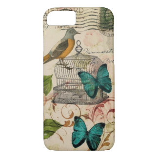 shabby elegance floral bird french country Case-Mate iPhone case