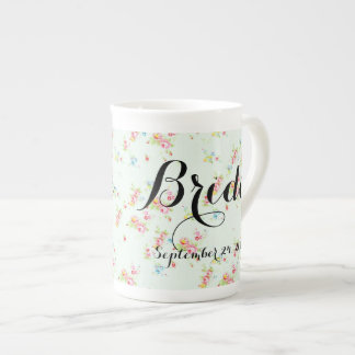 Shabby floral chic bride wedding date roses vintag bone china mug