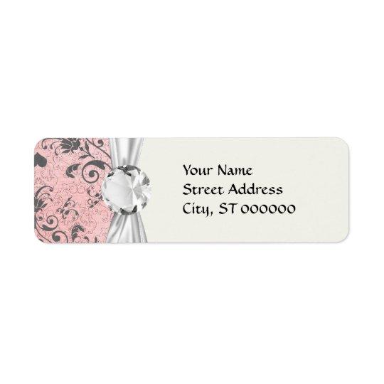 shabby grey heart swirl damask on grunge pink return address label